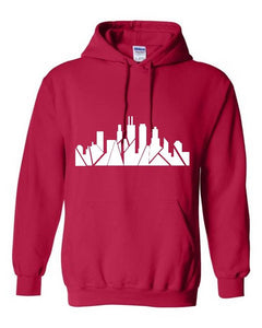 Chicago Skyline Hoodie - Red/White