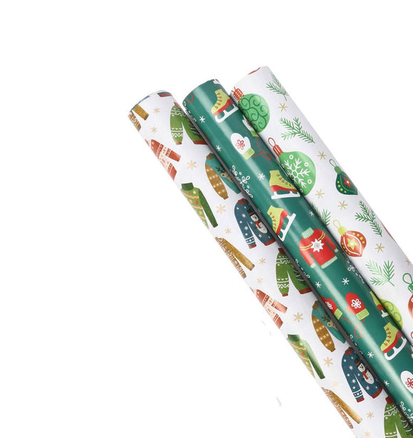 Ugly Christmas Sweater Wrapping Paper - 3 Pack
