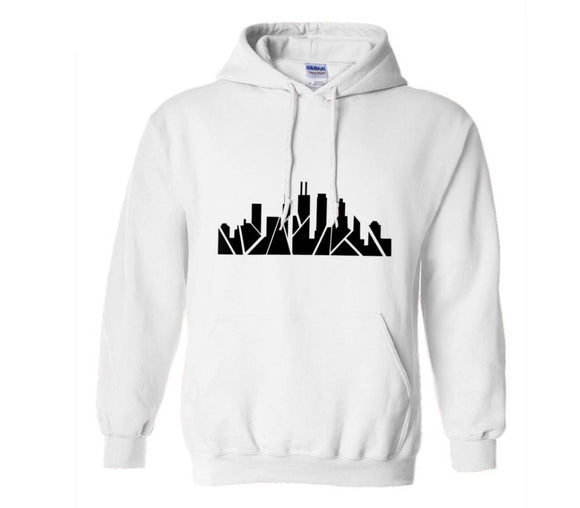Chicago Skyline Hoodie - White/Black