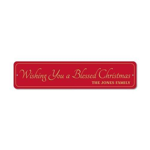 Wishing You A Blessed Merry Christmas Sign