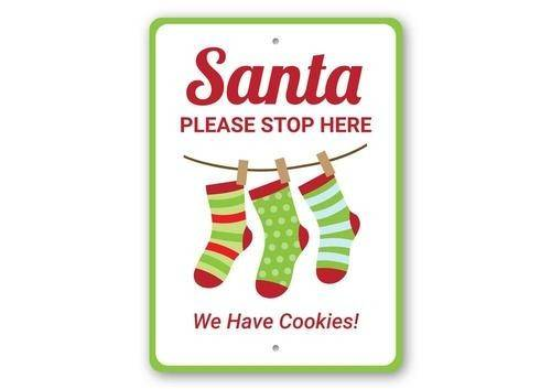 Santa Please Stop Here Christmas Sign
