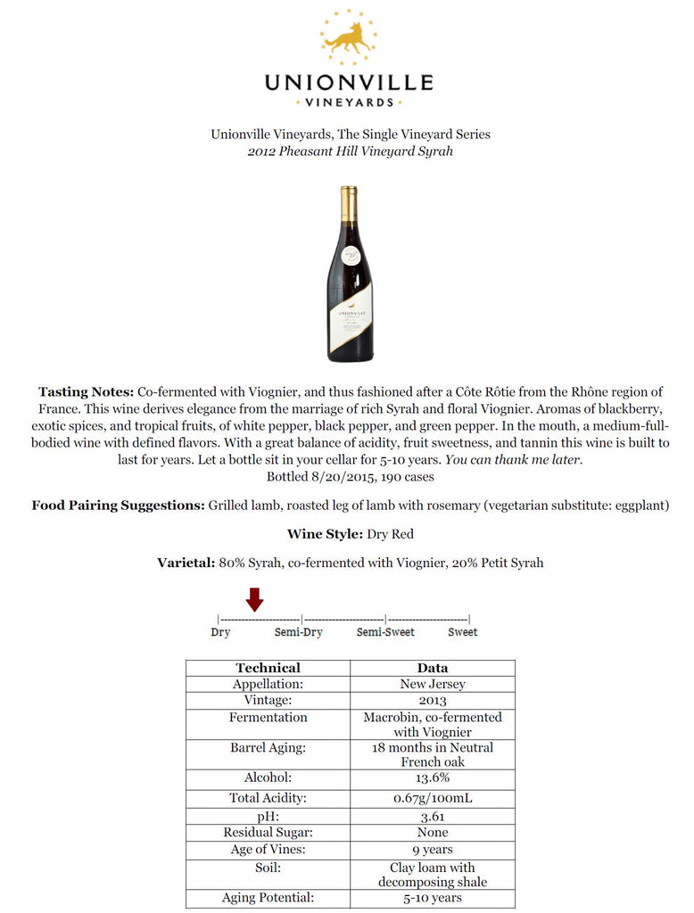 New Jersey single vineyard wine Syrah fashioned after Cote Rotie