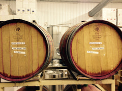 French oak barrels filled with New Jersey wine