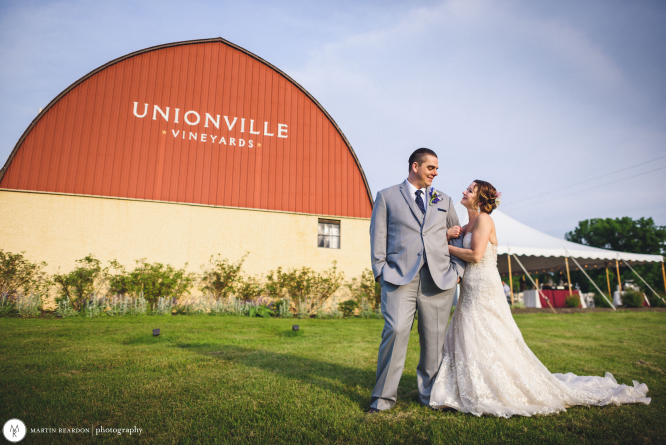 A Bride & Groom on the Wedding Day at Unionville Vineyards