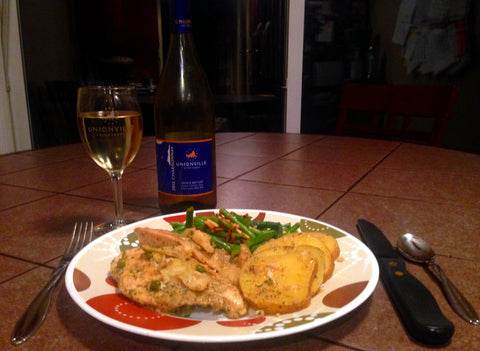 Lemon chicken, green beans almondine, and Unionville Vineyards Chardonnay