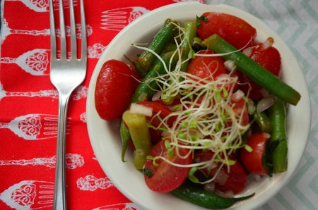 tarragon tomato salad with new jersey blush wine