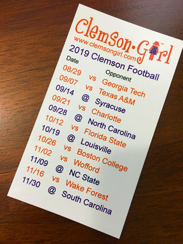 2019 Clemson Football Schedule Magnet