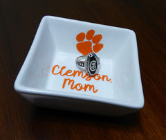 Clemson Mom square ring dish
