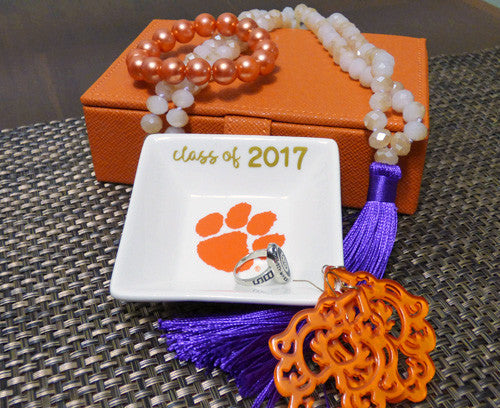 Clemson Graduation Year ring dish - Square
