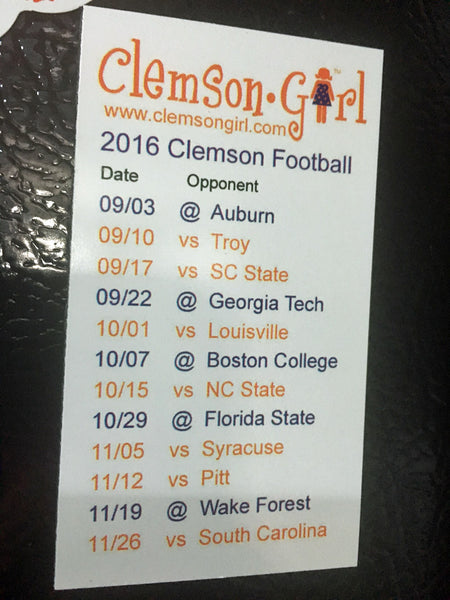 2016 Clemson Football Schedule Magnet