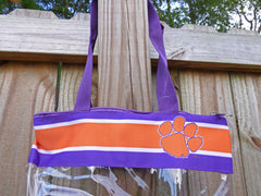 Clear Clemson stadium tote with zipper