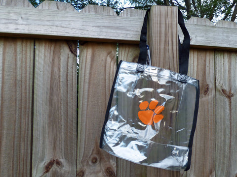 Clemson Tiger Paw Clear Stadium Tote Bag