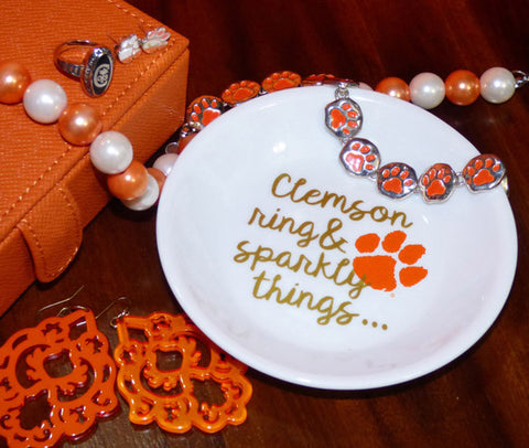 Trinket Dish - Clemson Ring & Sparkly Things
