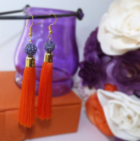Clemson gameday tassel earrings