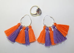 Gameday tassel hoop earrings