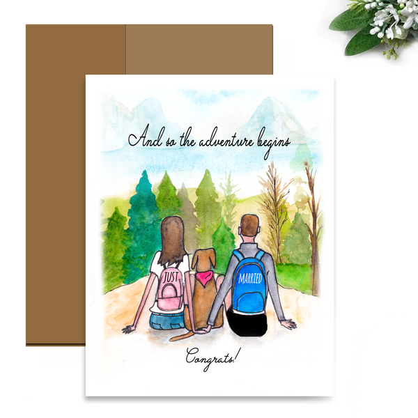 Wedding Card for the Outdoor Dog Lover Couple