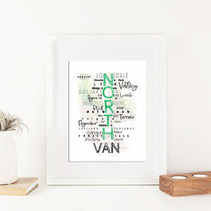 Vancouver - North VAN neighborhood (Text) Print