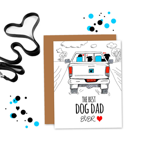 Best Dog Dad Ever -  Two Dogs Card