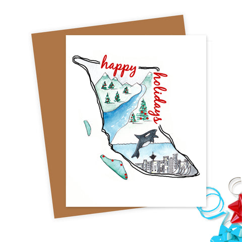 BC Happy Holidays Illustrated Christmas Card