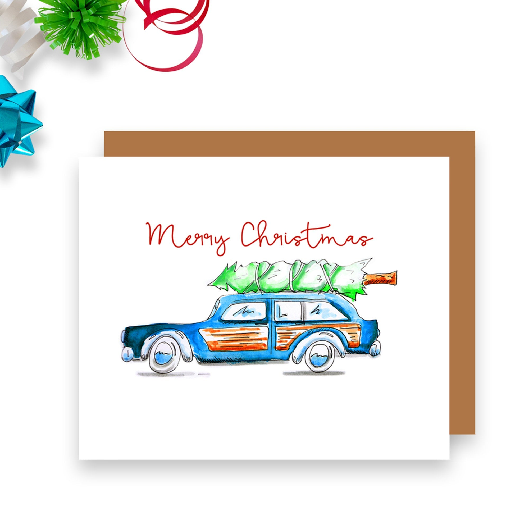 Vintage Car with Tree Christmas Card
