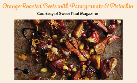 Orange-roasted beets with pomegranate and pistachios