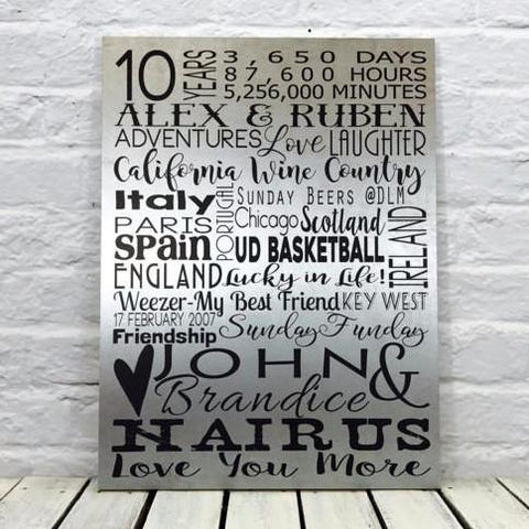 10 Year Anniversary Gift Tin Sign