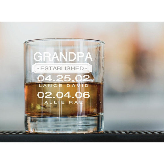 Personalized Engraved Whiskey Glass with Grandpa Established Date Engraving