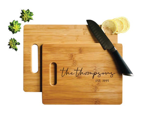 Personalized Bamboo Cutting Board, Engraved Wood Board 2 Sizes, Wedding Gift
