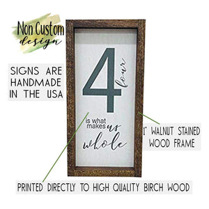 Farmhouse Wall Decor, Family of 5 Home Sign, Rustic Wooden Frame Decoration