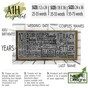 25 Year Anniversary Personalized Wooden Sign
