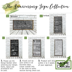 1 Year Personalized Wooden Anniversary Subway Sign