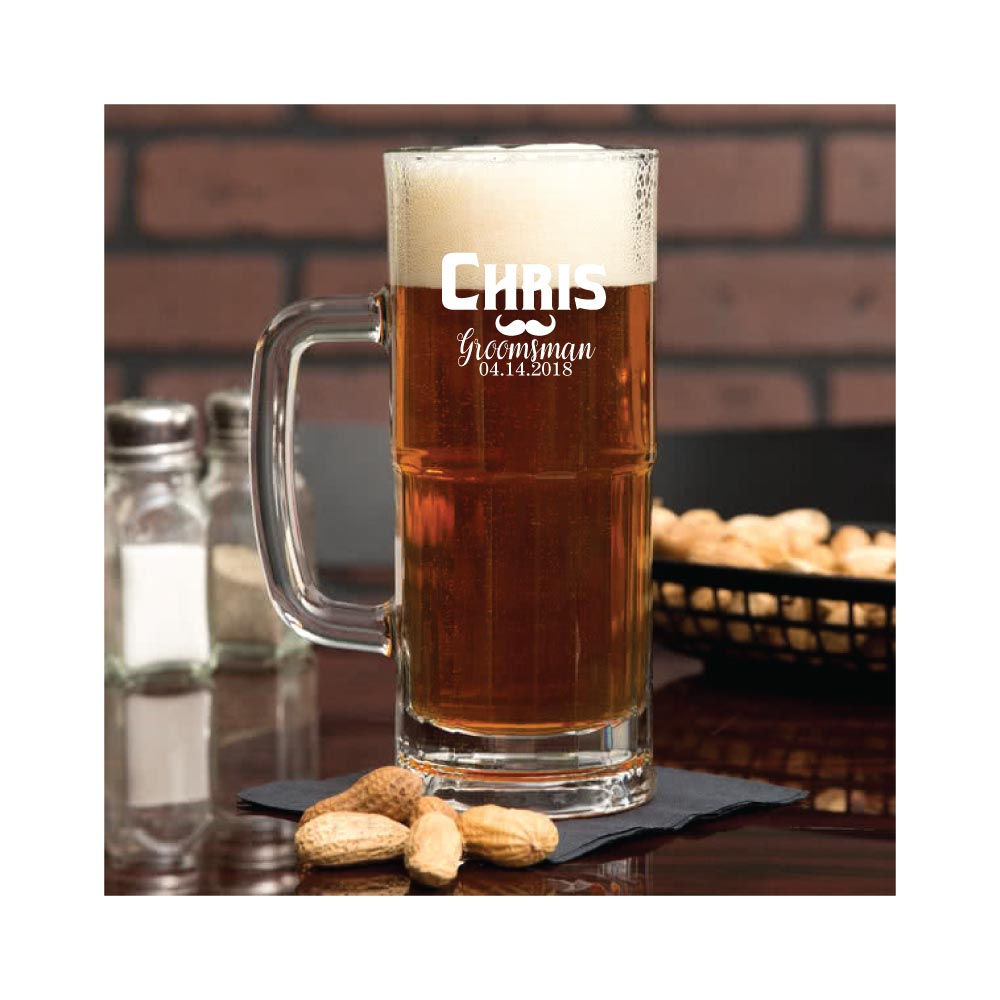 Personalized and Engraved Beer Mug with Handle 22 oz. for Groomsmen & Wedding Party