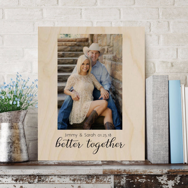 Better Together Wedding Photo Gift - Wood