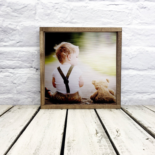 "Upload custom photo or design on tin or metal with 1"" walnut frame"