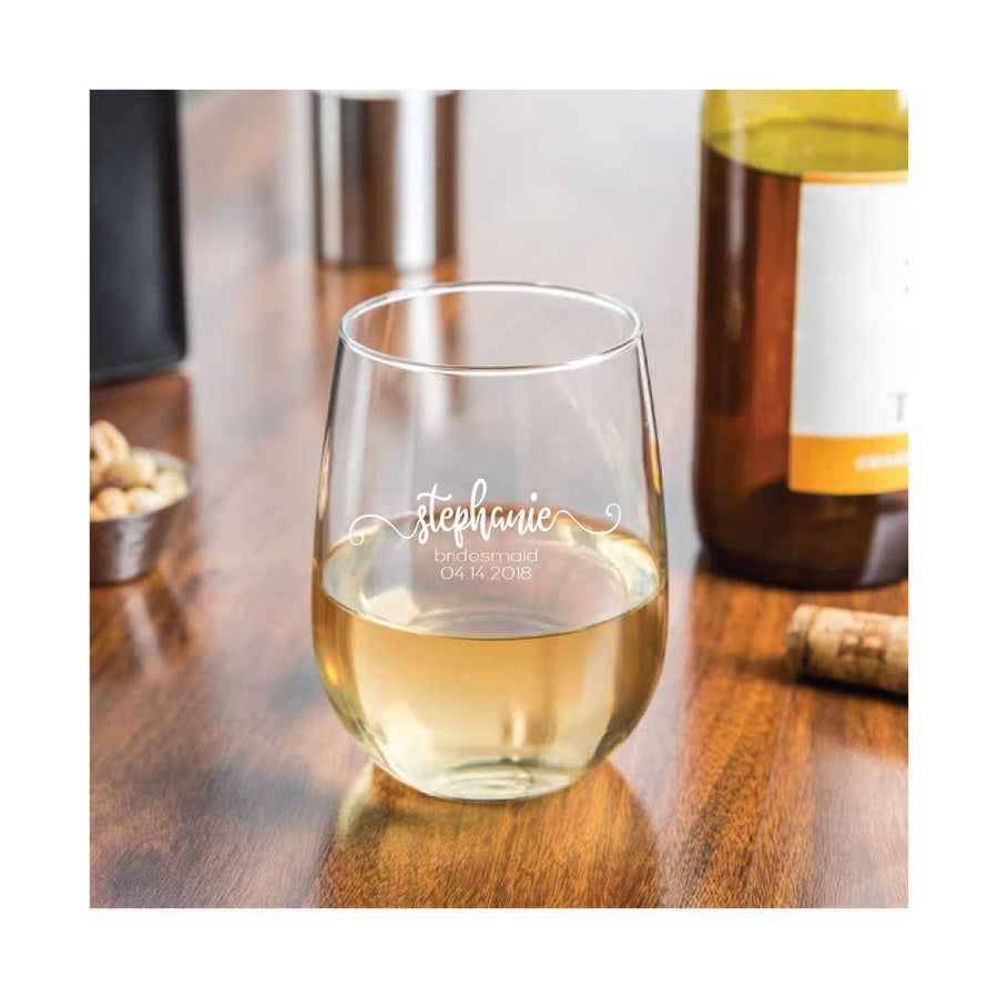 Personalized Engraved 17 oz. Stemless White Wine Glass for Bridesmaids & Wedding Party