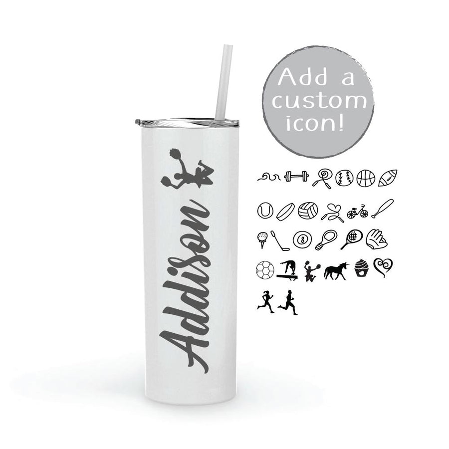Personalized 20 oz Tumbler with Name and Icon