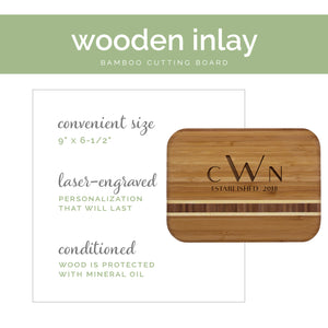 Personalized Bamboo Cutting Board, Engraved Wedding Gift w/ Wooden Inlay, Customizable