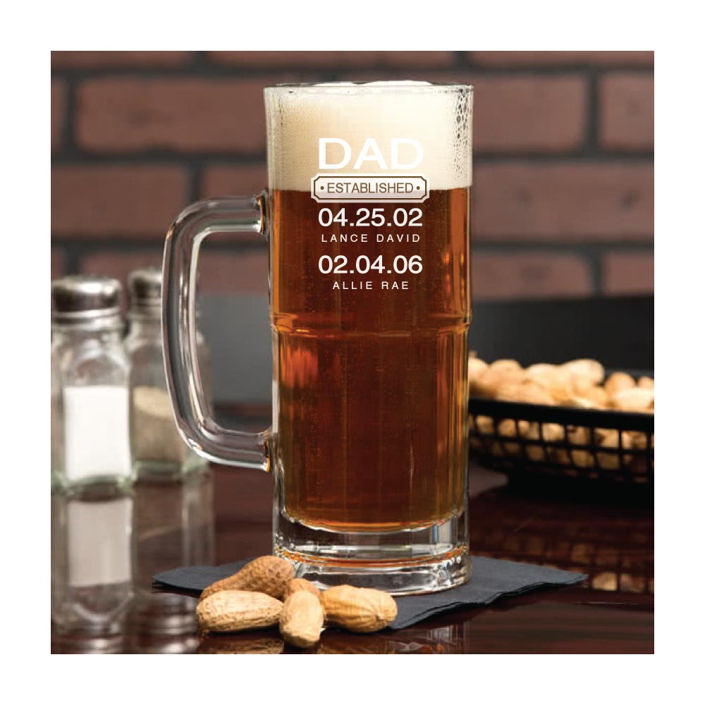 Engraved and Personalized Father's Day Beer Glass Gift