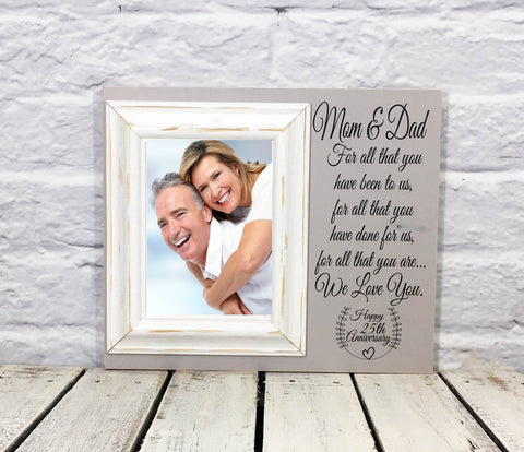 Mom and Dad Anniversary 25th Picture Frame Gift