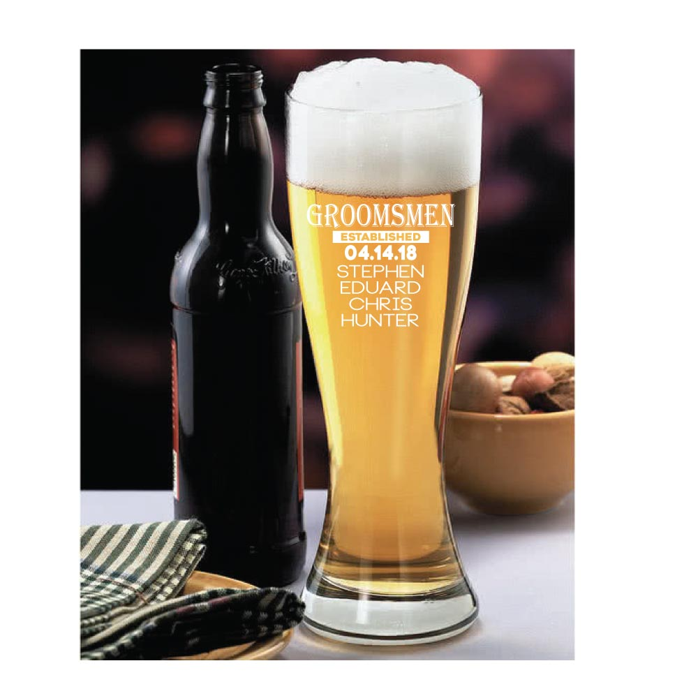 Personalized and Engraved Giant 23oz. Pilsner for Groomsmen or Wedding Party