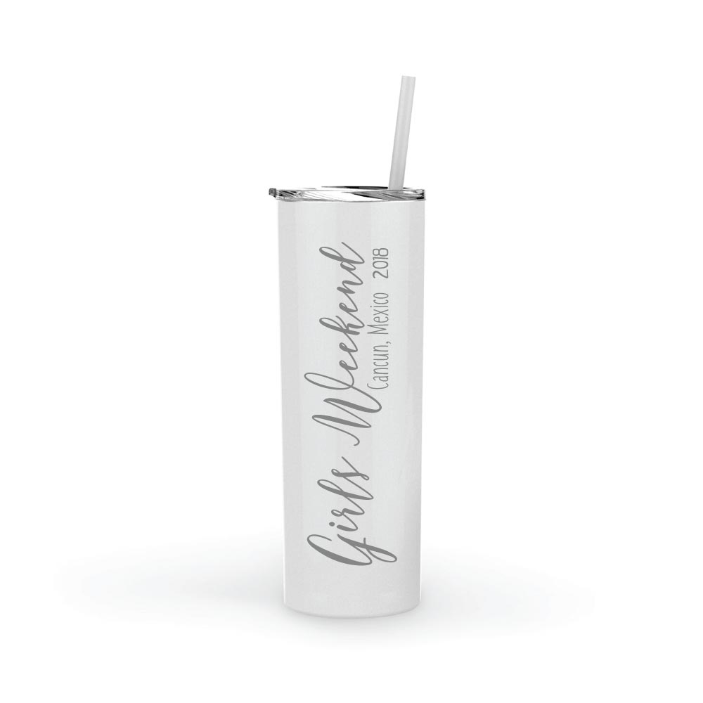 Personalized Travel Mug Skinny Tumbler Stainless Steel Custom Gift 20 oz Party Gift