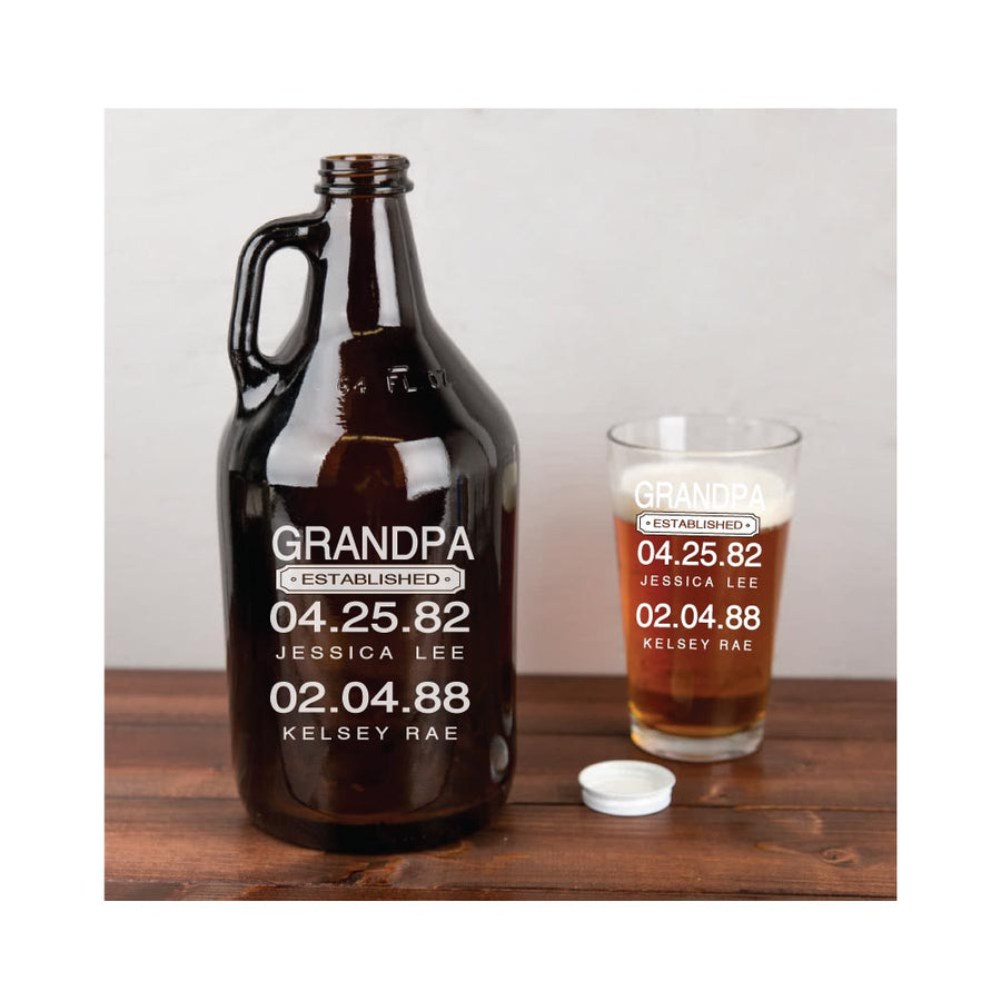 Personalized Engraved 64 oz. Glass Growler for Dad or Grandpa