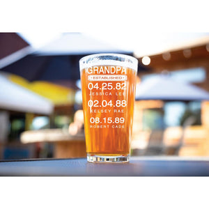 Personalized Dad Established Engraved 16 oz. Pint Glass