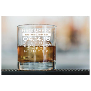 Personalized 10.25 oz. Old Fashioned Engraved Groomsmen Glassware