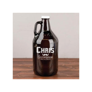 Personalized Engraved 64 oz. Glass Growler for Groomsmen or Wedding Party
