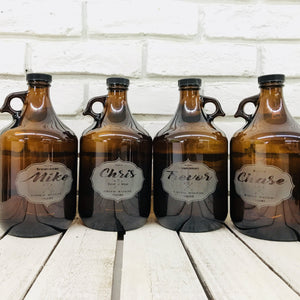 brown glass growler bottles engraved with groomsmen names
