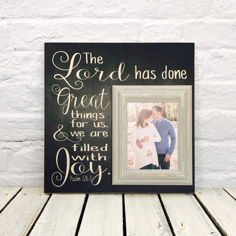 The Lord Has Done Great Things 16 x 16 Wood Picture Frame-Black
