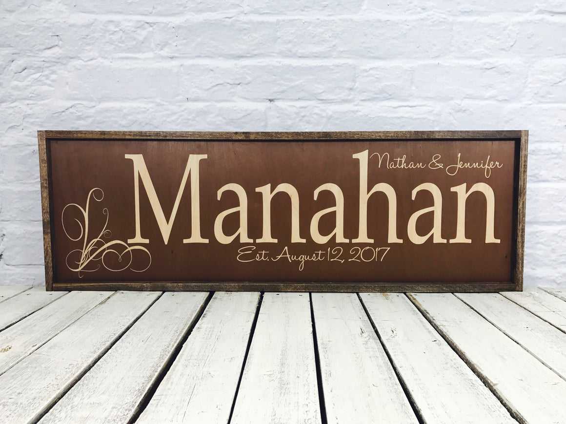 Personalized last name wood sign with distressed frame