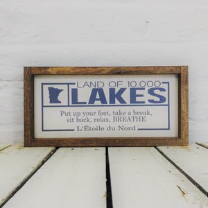 Land of 10,000 Lakes Wood Sign