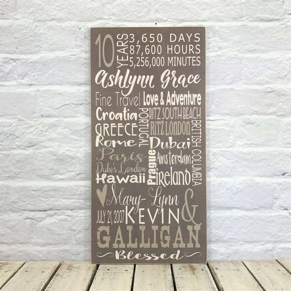 10 Year Anniversary Personalized Subway Sign - Wood